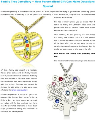 Family Tree Jewellery – How Personalised Gift Can Make Occasions Special