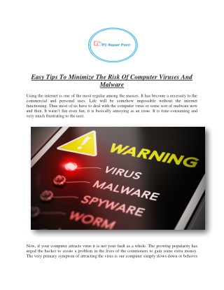 Easy Tips to Minimize the Risk of Computer Viruses-PC Repair Point