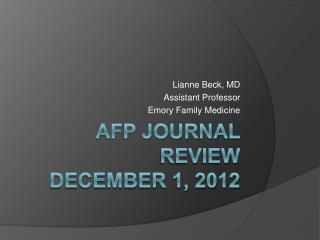 AFP Journal Review  December 1, 2012