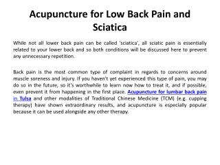 Acupuncture for Low Back Pain and Sciatica