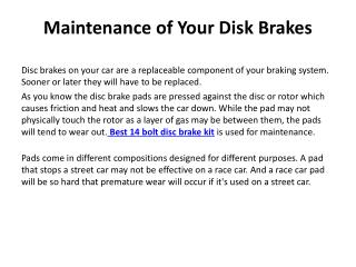 Maintenance of Your Disk Brakes