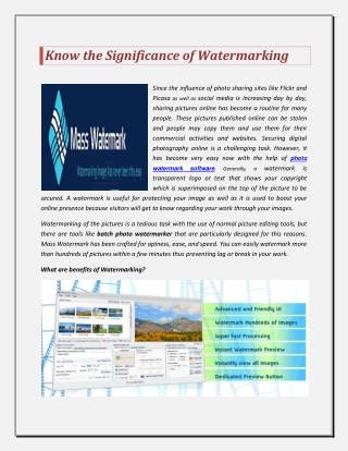Know the Significance of Watermarking