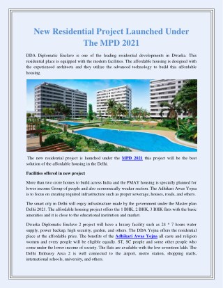 New Residential Project Launched Under The MPD 2021
