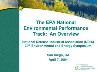 The EPA National Environmental Performance Track:  An Overview