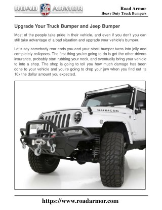 Upgrade Your Truck Bumper and Jeep Bumper