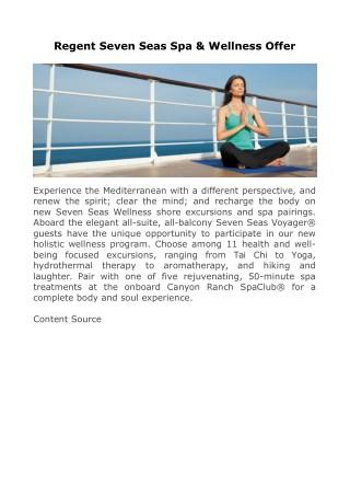 Regent Seven Seas Spa & Wellness Offer
