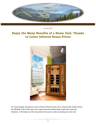 Enjoy the Many Benefits of a Home Unit, Thanks to Lower Infrared Sauna Prices
