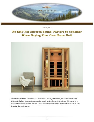 No-EMF Far-Infrared Sauna: Factors to Consider When Buying Your Own Home Unit