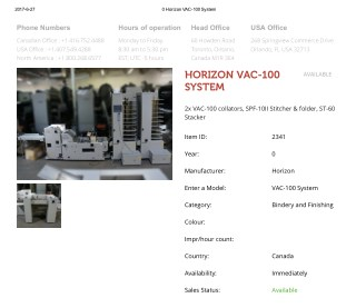 Buy Used HORIZON VAC-100 SYSTEM Machine