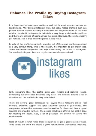 Enhance The Profile By Buying Instagram Likes