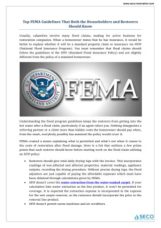 Top FEMA Guidelines - Seco Restoration