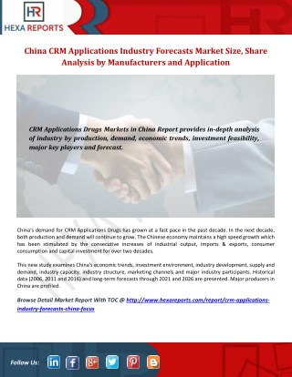 China CRM Applications Industry Forecasts - Market Dynamics, Forecast, Analysis and Supply Demand