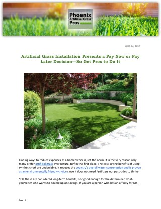 Artificial Grass Installation Presents a Pay Now or Pay Later Decision—So Get Pros to Do It