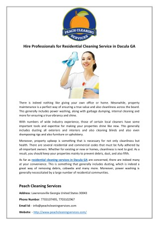 Hire Professionals for Residential Cleaning Service in Dacula GA