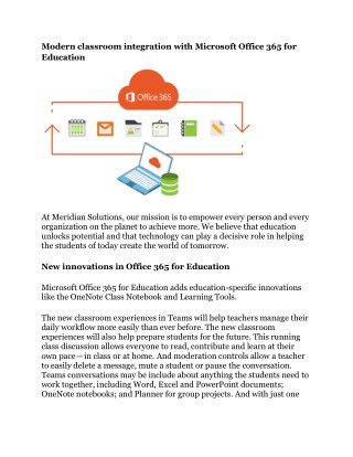 Modern classroom integration with Microsoft Office 365 for Education
