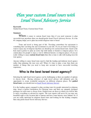 Plan your custom Israel tours with Israel Travel Advisory Service