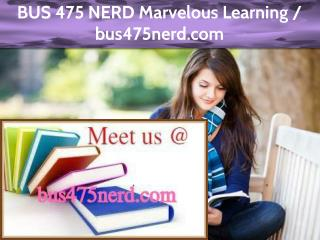 BUS 475 NERD Marvelous Learning /bus475nerd.com