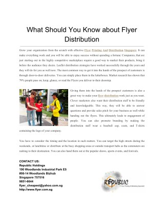 What Should You Know about Flyer Distribution