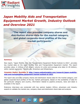 Japan Mobility Aids and Transportation Equipment Market Trends, Analysis, Growth, Industry Outlook and Overview 2021