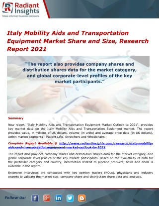 Italy Mobility Aids and Transportation Equipment Market Size and Growth, Research Report 2021