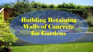 Building retaining walls of concrete for gardens