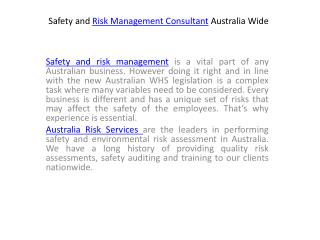 Safety and Risk Management Consultant Australia Wide