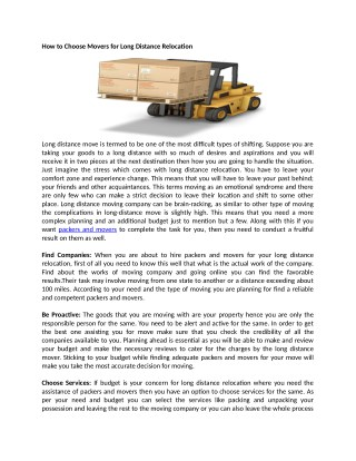 How to Choose Movers for Long Distance Relocation