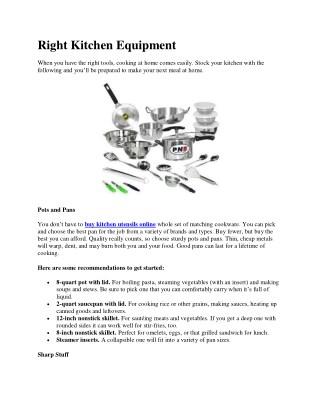 Right Kitchen Equipment