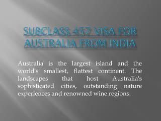 subclass 457 visa for australia from india