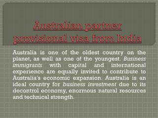 australian partner provisional visa from india