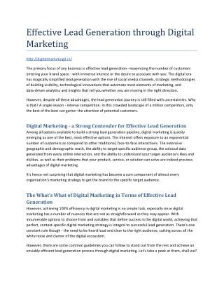 Effective Lead Generation through Digital Marketing