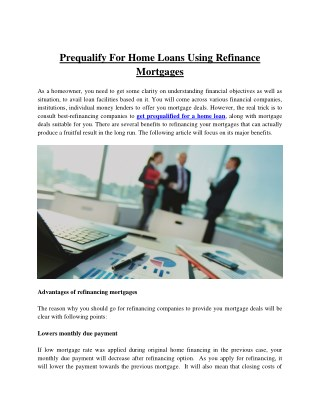 Prequalify for home loans using refinance mortgages