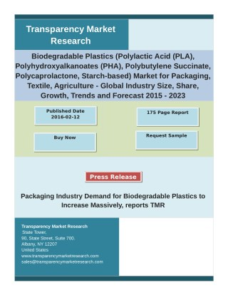 Biodegradable Plastics Market: Analysis by Global Segments, Size, Trends and Forecast 2023