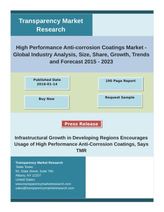 High Performance Anti-corrosion Coatings Market: Trends, Analysis, Application & Type Forecast to 2023