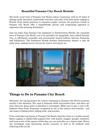 Spend Glorious Vacations In Panama City Beach Rentals