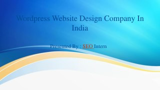 WordPress website design company in India
