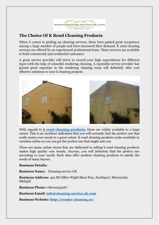 The Choice Of K Rend Cleaning Products