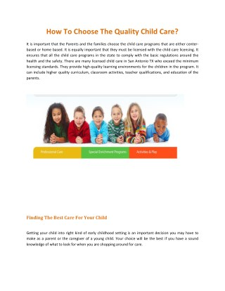 How To Choose The Quality Child Care?