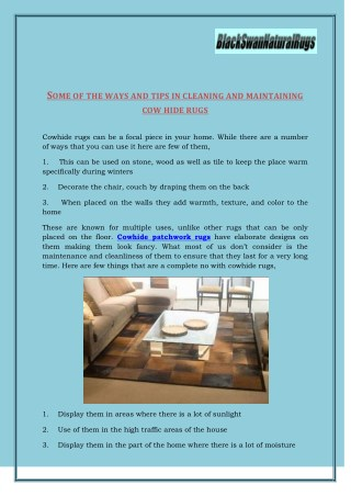 Different Types Of Cowhide Rugs Available : BlackSwanNaturalRugs