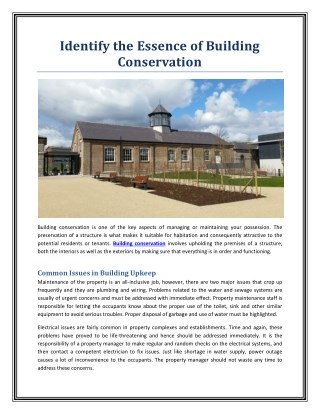 Identify the Essence of Building Conservation