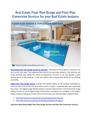 Real Estate Floor Plan Design and Floor Plan Conversion Services for your Real Estate business