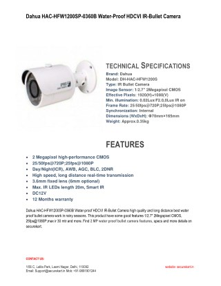 Dahua 2MP High Definition Bullet Camera HAC-HFW1200SP-0360B