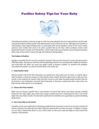 Pacifier Safety Tips for Your Baby