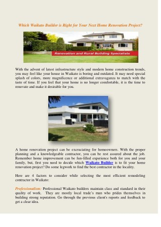Which Waikato Builder is Right for Your Next Home Renovation Project?