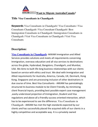Visa Consultants in Chandigarh