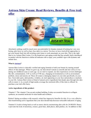 Astraea Skin Cream: Read Reviews, Benefits & Free trail offer