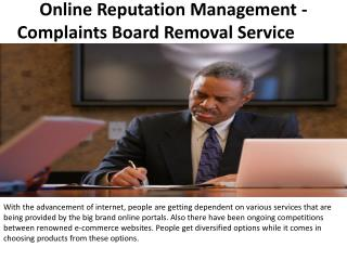 Online Reputation Management - Complaints Board Removal Service
