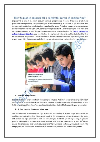 How to plan in advance for a successful career in engineering?