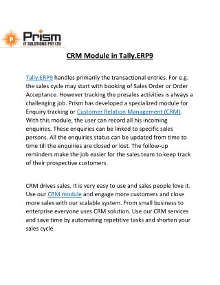 A PDF on CRM module in Tally.ERP9|By PrismIT