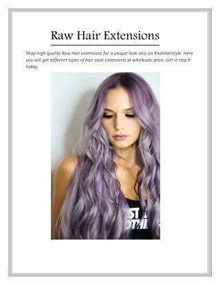 Raw Hair Extensions - Knothairstyle